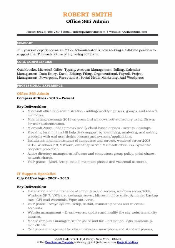 Office 365 Admin Resume Sample