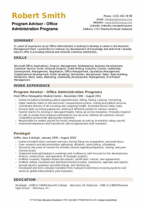 Office Administration Resume Samples Qwikresume
