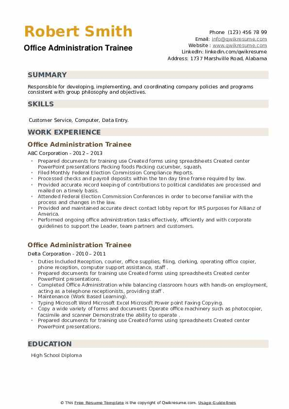 Office Administration Trainee Resume example