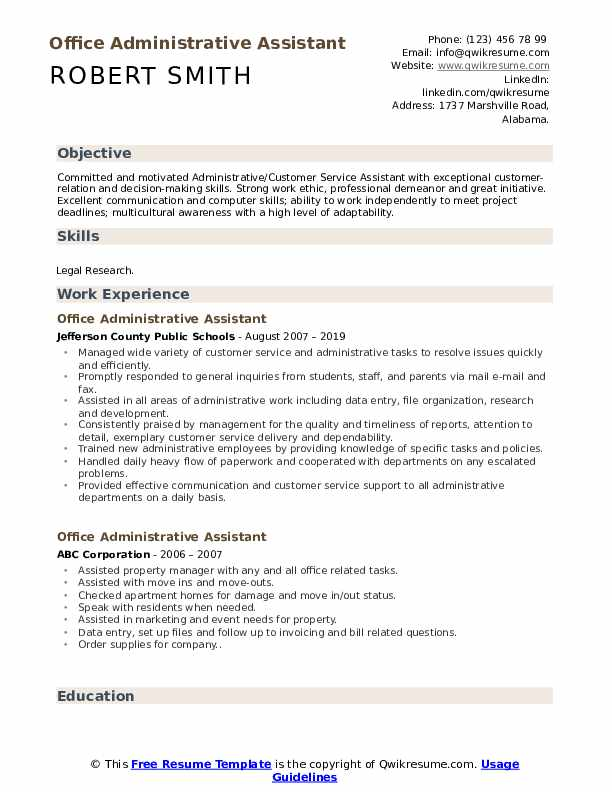 Office Administrative Assistant Resume Format