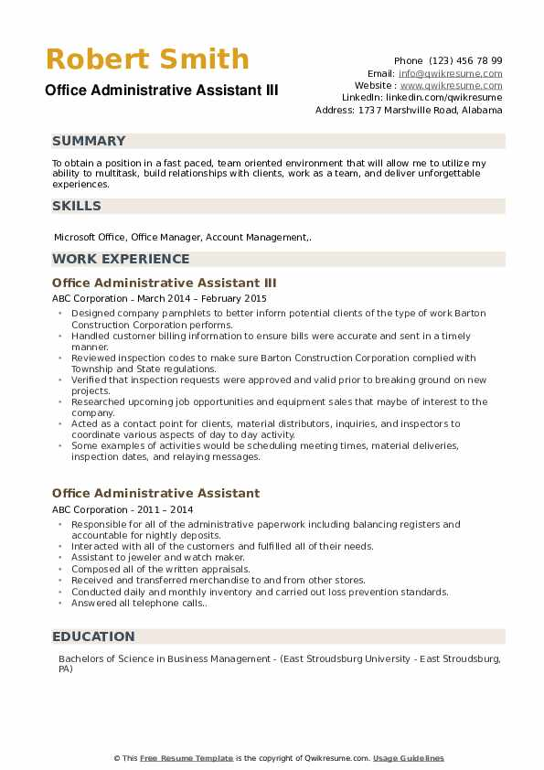 Office Administrative Assistant III Resume Example
