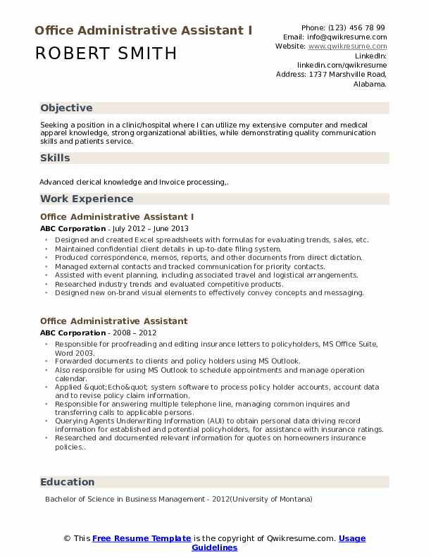 Office Administrative Assistant I Resume Model