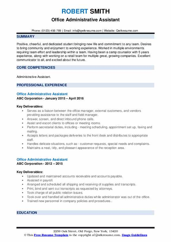 Office Administrative Assistant Resume example