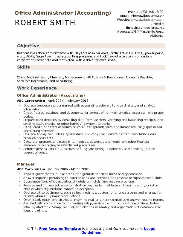 Office Administrator (Accounting) Resume Example