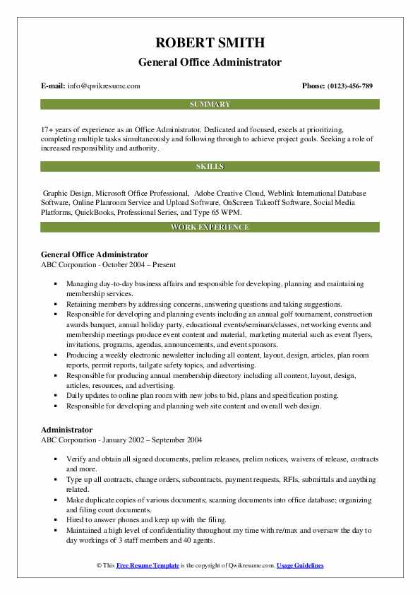 General Office Administrator Resume Format