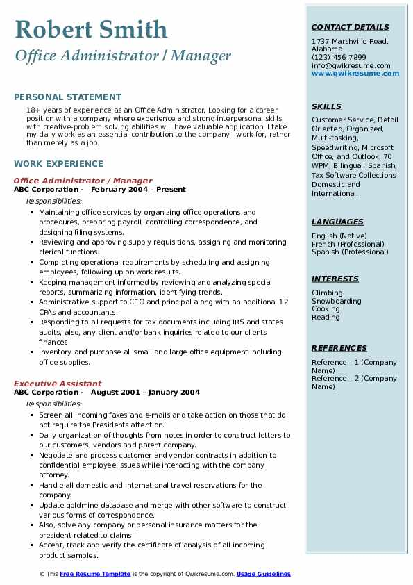 Office Administrator / Manager Resume Sample