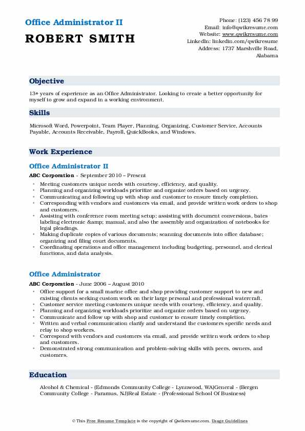 Office Administrator II Resume Template