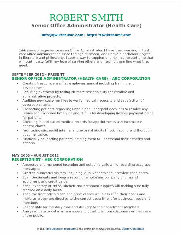 Senior Office Administrator (Health Care) Resume Model