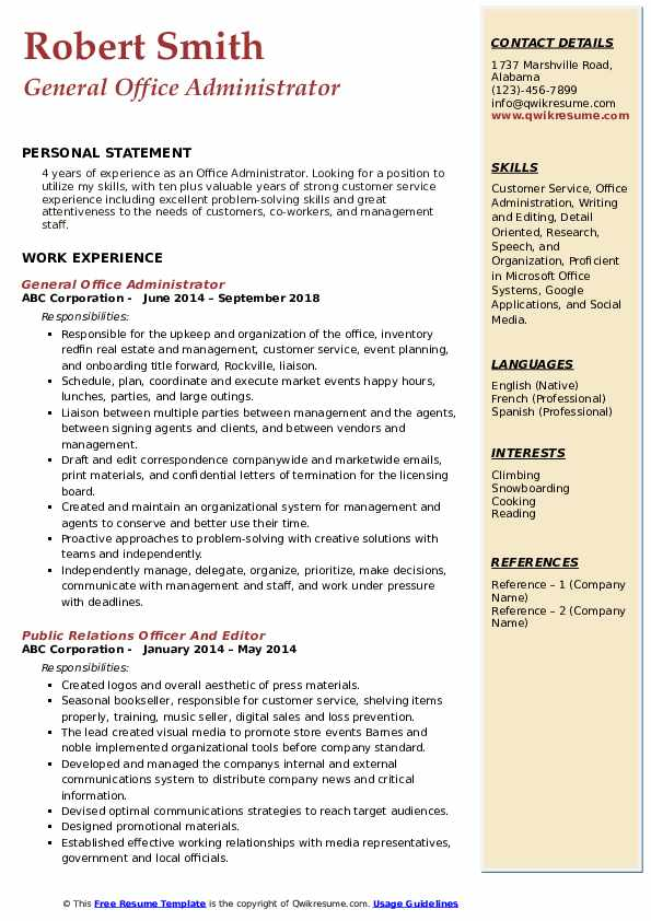 General Office Administrator Resume Template