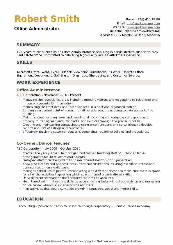 Office Administrator Resume example
