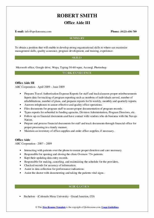 Office Aide III Resume Model