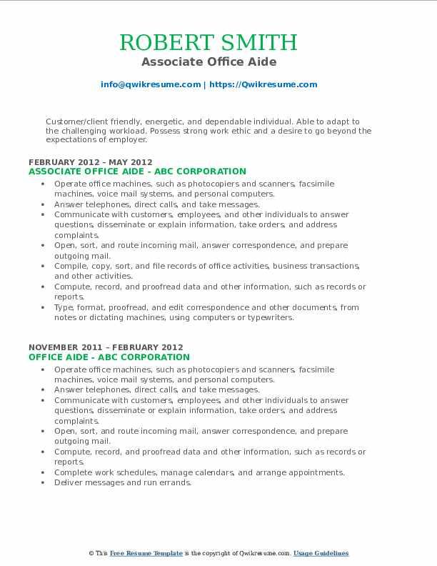 Associate Office Aide Resume Format