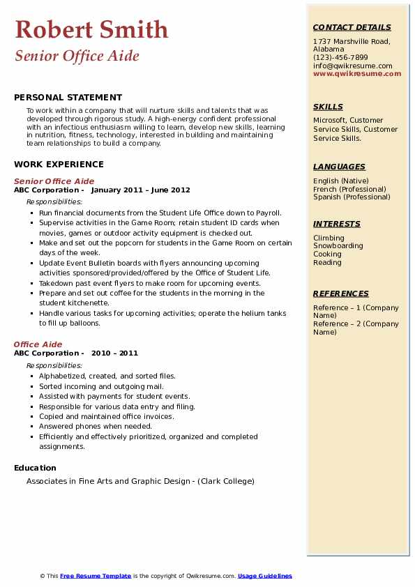 Senior Office Aide Resume Template
