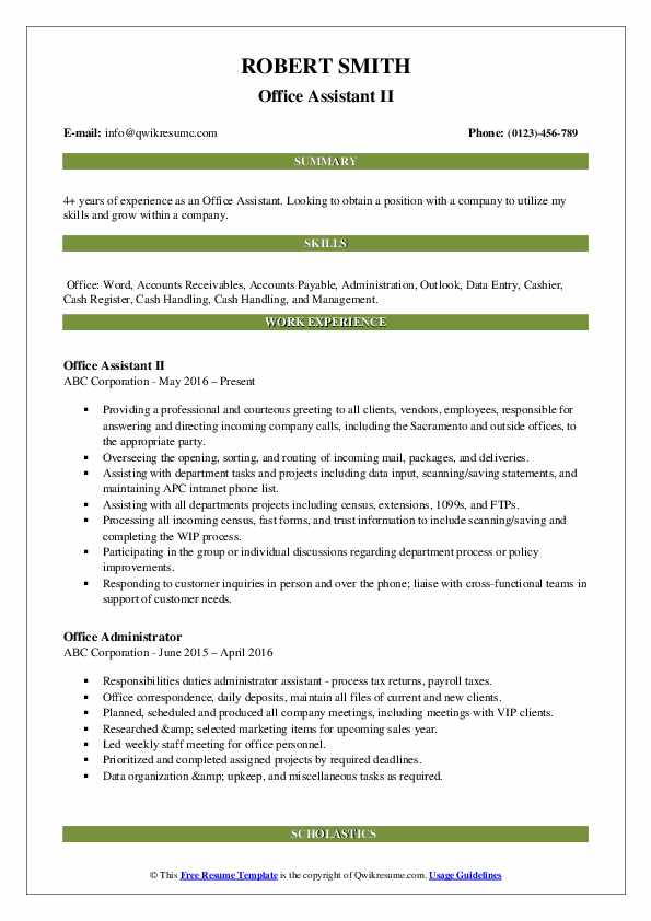 Office Assistant II Resume Model