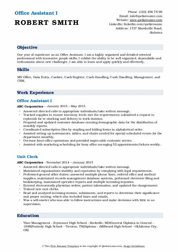 Office Assistant I Resume Format