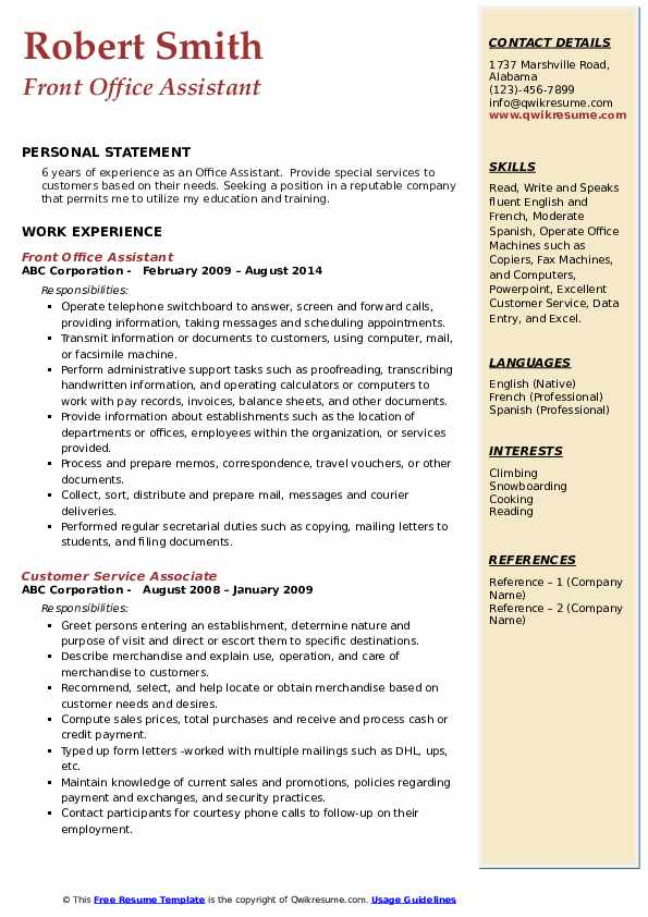 Front Office Assistant Resume Model