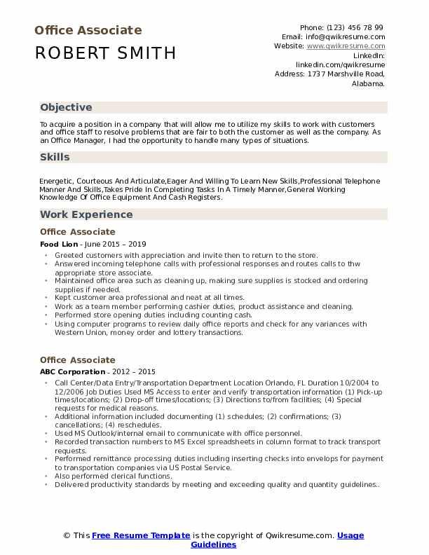 Office Associate Resume Model