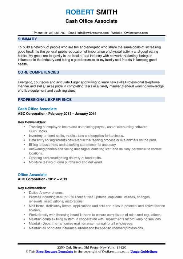 Cash Office Associate Resume Template