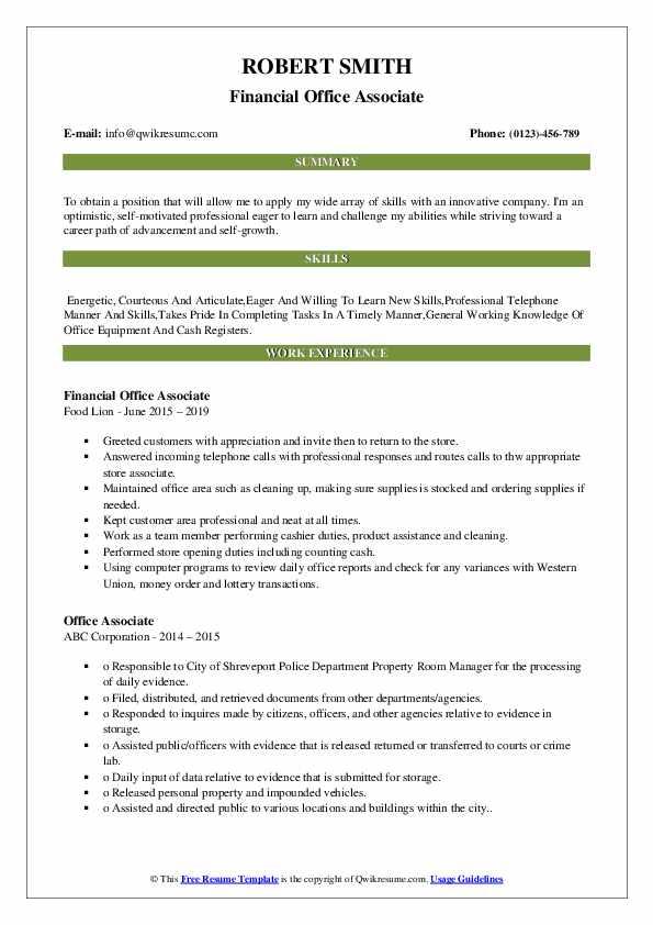 Financial Office Associate Resume Format