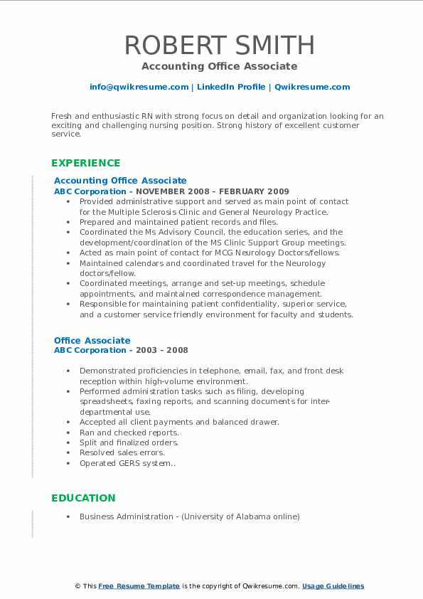Accounting Office Associate Resume Template