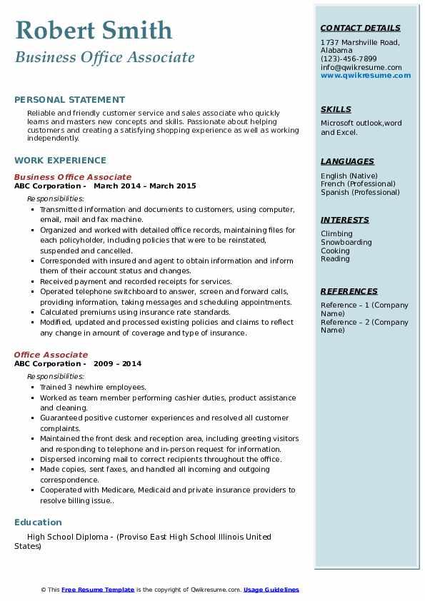 Business Office Associate Resume Model