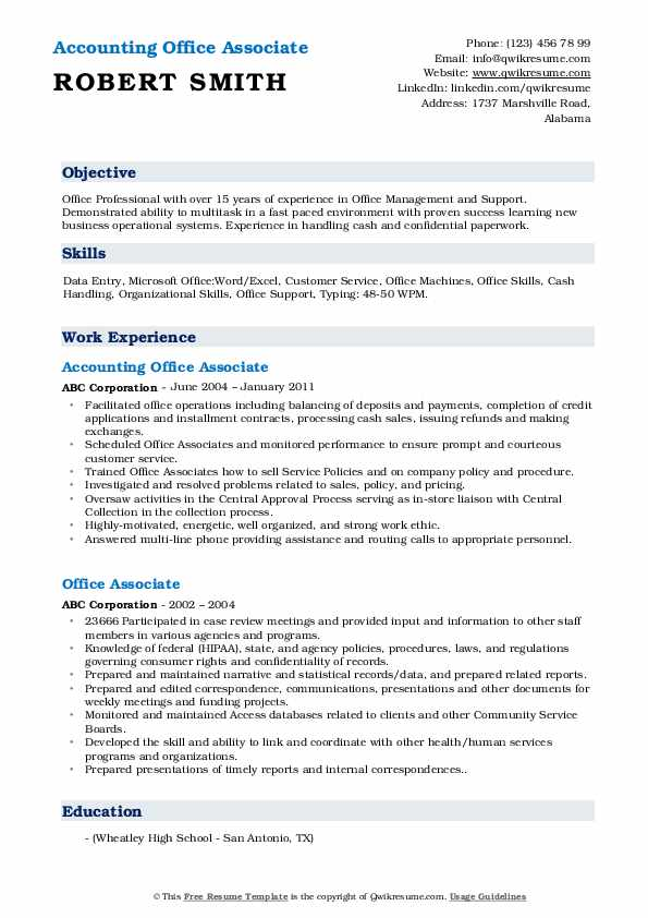 Accounting Office Associate Resume Sample