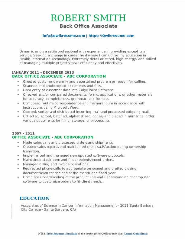 Back Office Associate Resume Model