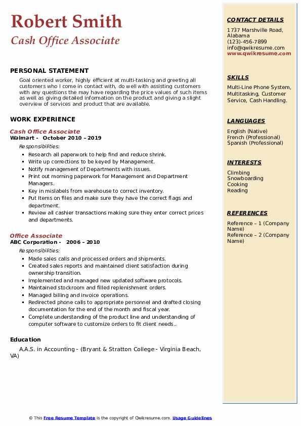 Cash Office Associate Resume Model