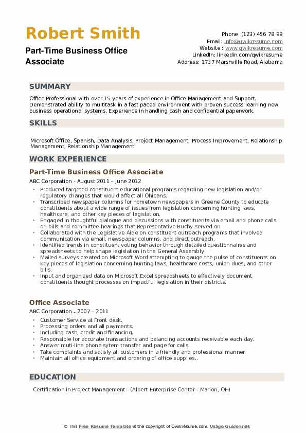 Part-Time Business Office Associate Resume Template
