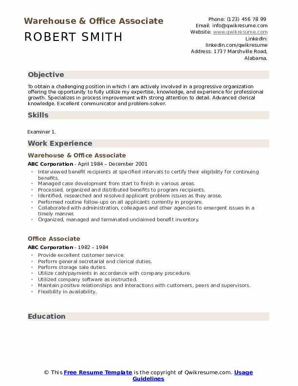 Warehouse & Office Associate Resume Format