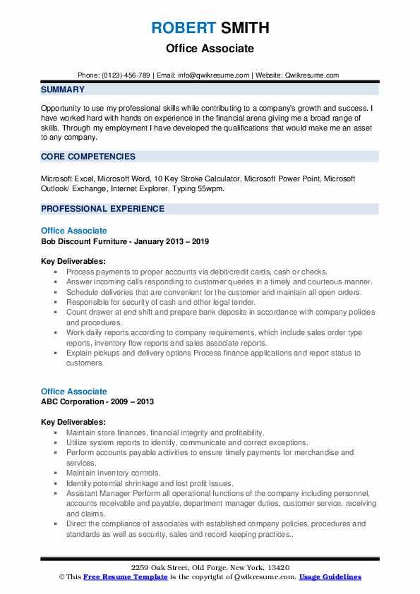 Office Associate Resume example