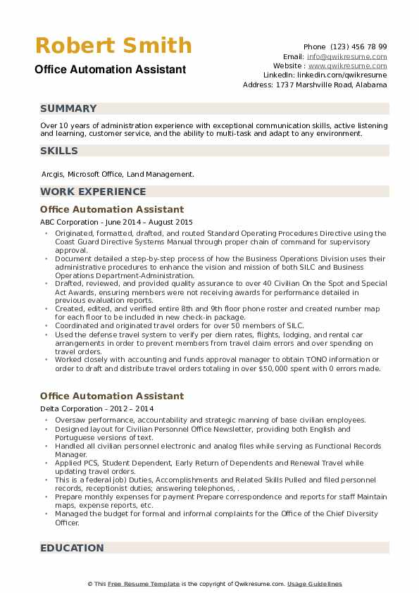 Office Automation Assistant Resume example