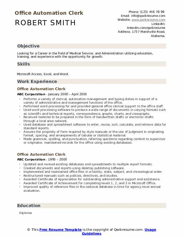 Office Automation Clerk Resume Template