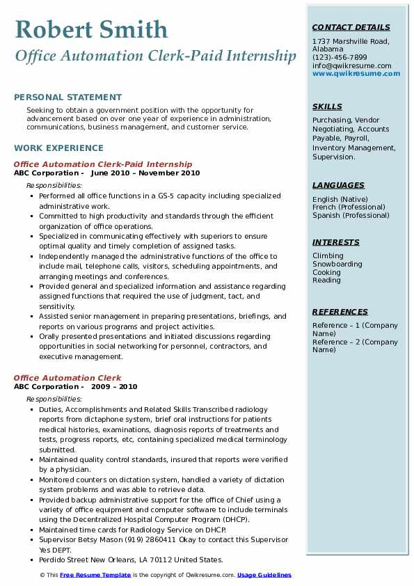 Office Automation Clerk-Paid Internship Resume Model