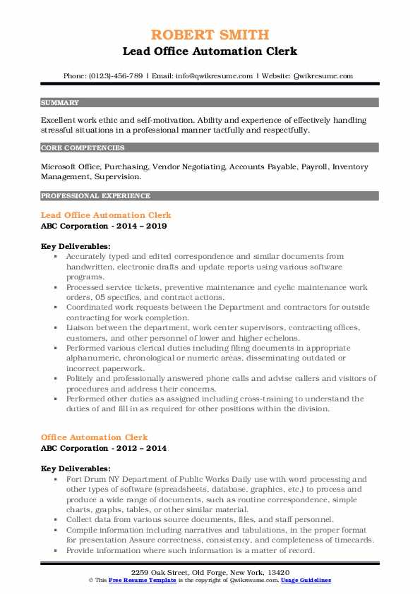 Lead Office Automation Clerk Resume Example