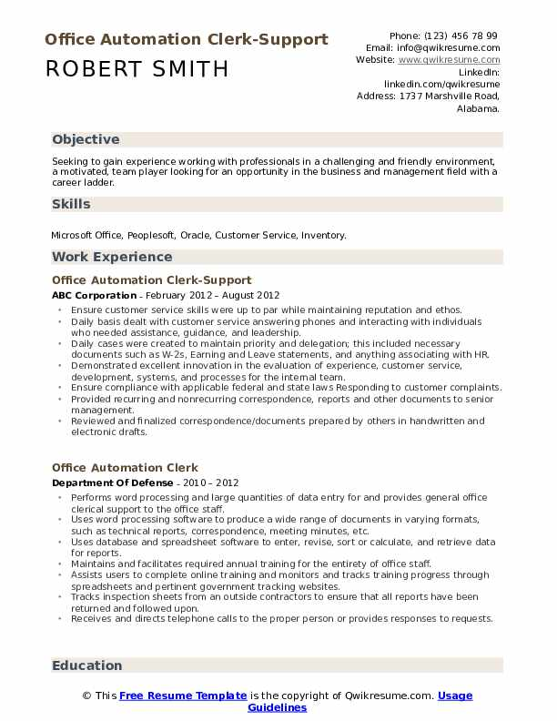 Office Automation Clerk-Support Resume Template