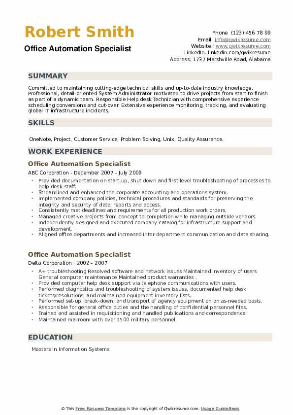 Office Automation Specialist Resume example