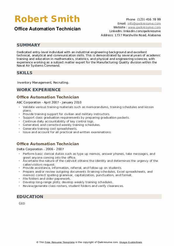Office Automation Technician Resume example