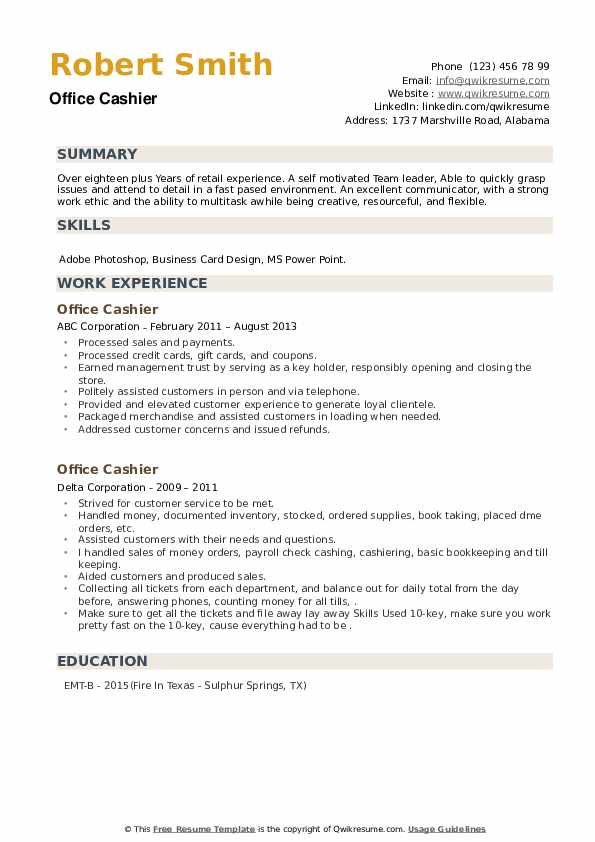 Office Cashier Resume example