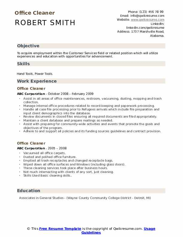 Office Cleaner Resume Model