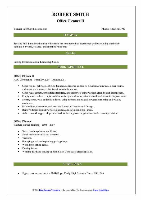 Office Cleaner II Resume Format