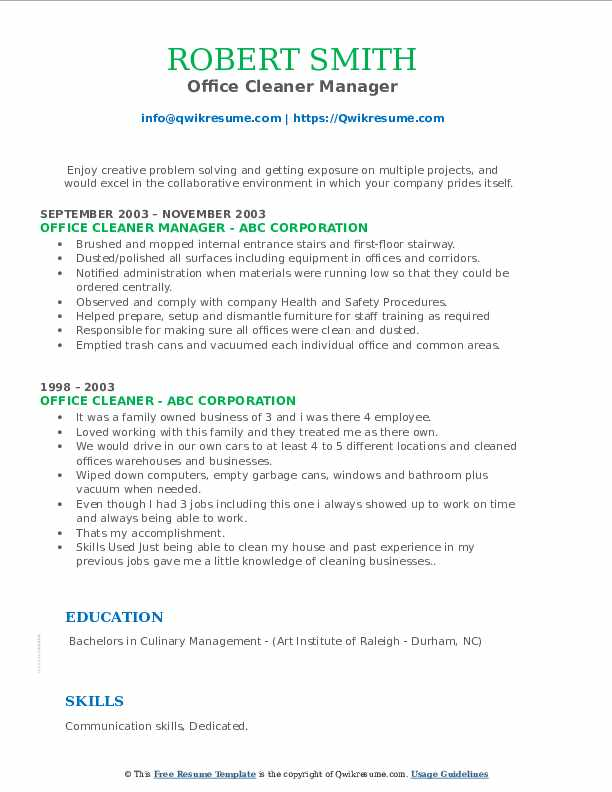 Office Cleaner Manager Resume Model