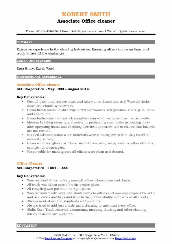 Associate Office cleaner Resume Sample