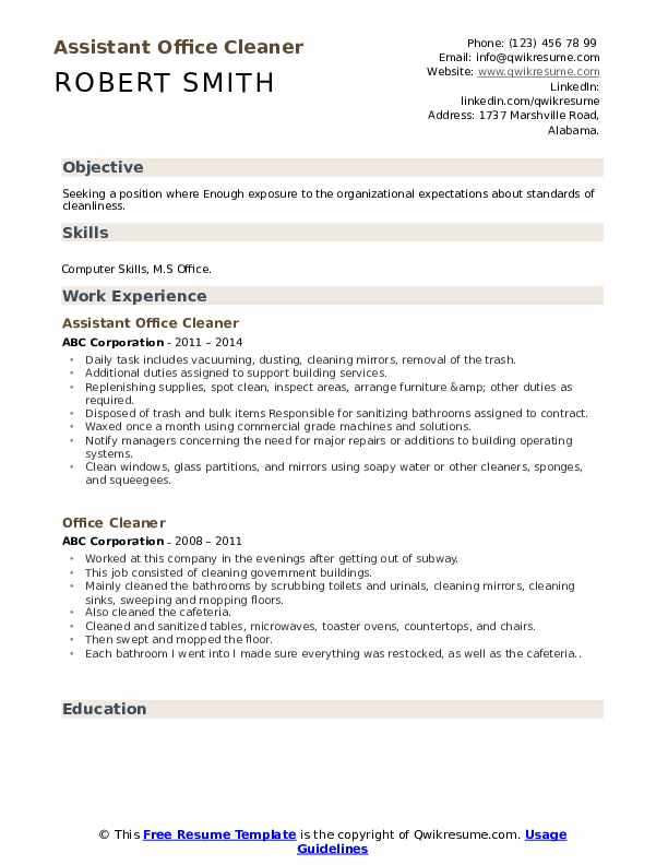 Assistant Office Cleaner Resume Model