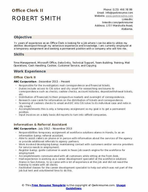 Office Clerk II Resume Sample