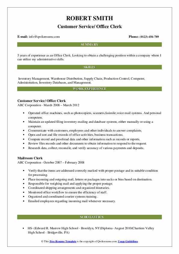 Customer Service/ Office Clerk Resume Example