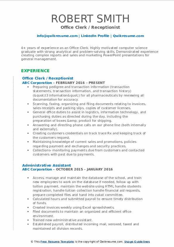 Office Clerk / Receptionist Resume Example
