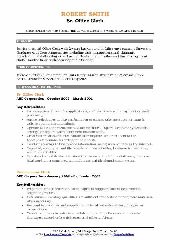 Sr. Office Clerk Resume Format