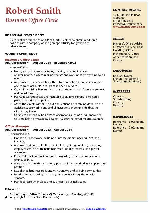 Business Office Clerk Resume Sample