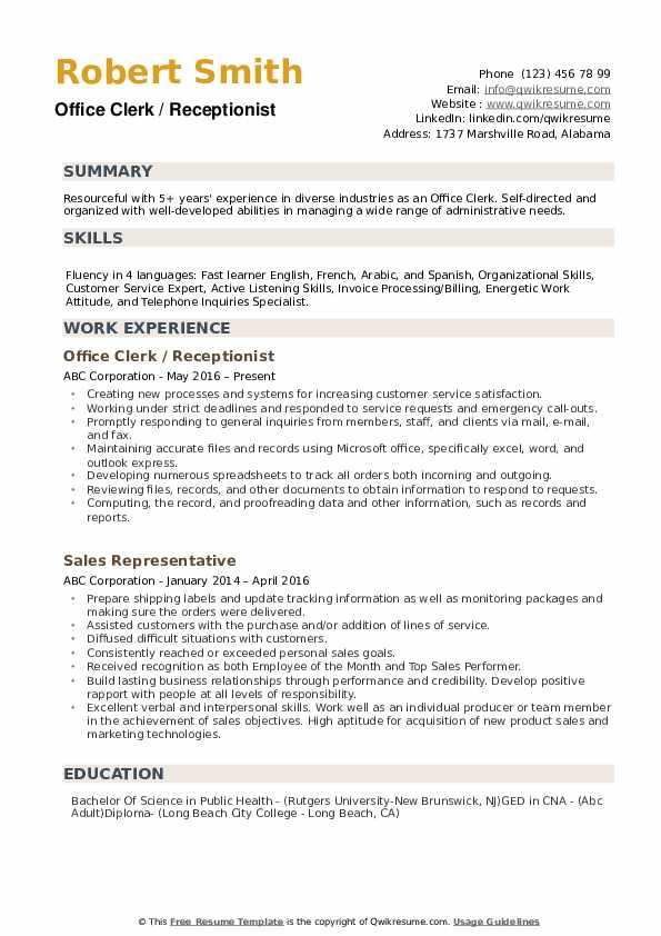 Office Clerk Resume example